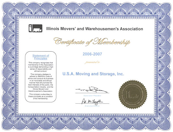 Member of Illinois Movers Association - 2006-2007