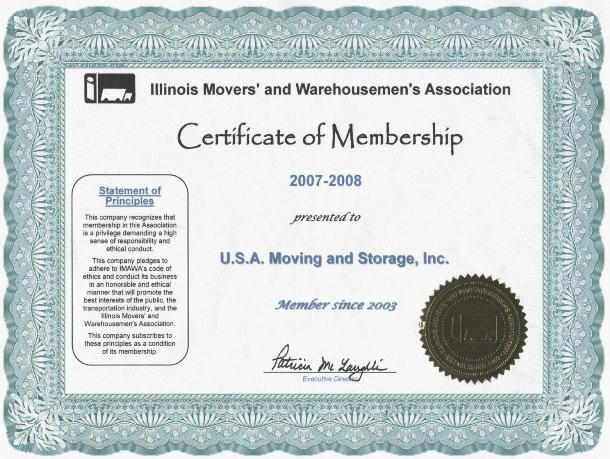Member of Illinois Movers Association - 2007-2008