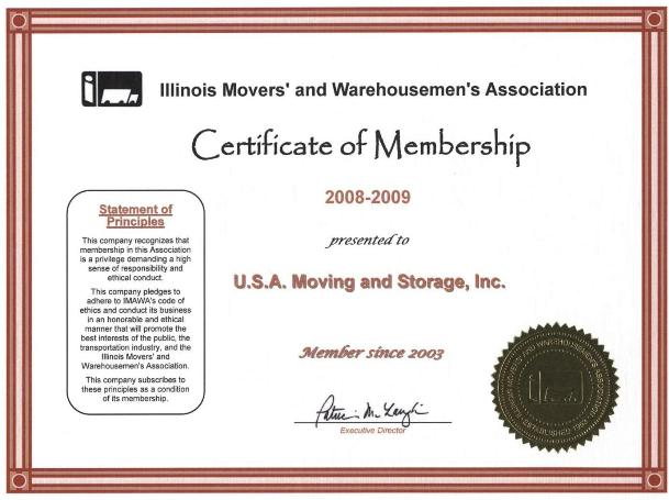 Member of Illinois Movers Association - 2008-2009