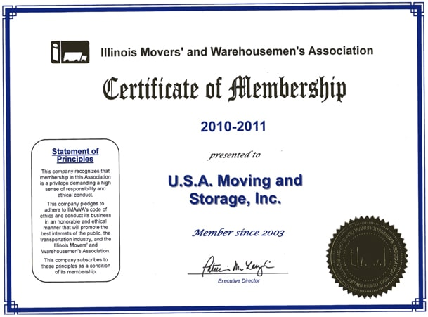 Member of Illinois Movers Association - 2010-2011