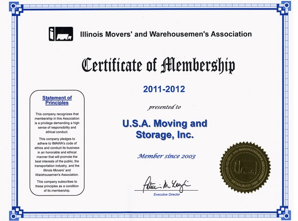 Member of Illinois Movers Association - 2011-2012