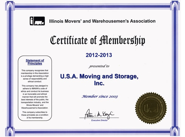 Member of Illinois Movers Association - 2012-2013