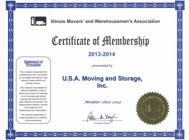 Member of Illinois Movers Association - 2013-2013